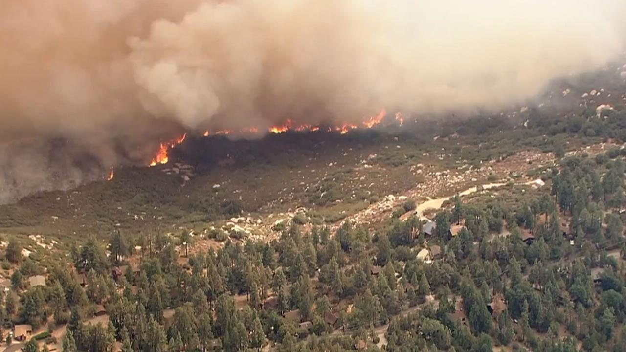 This view from overhead shows a wildfire in Idyllwild Calif. on Wednesday