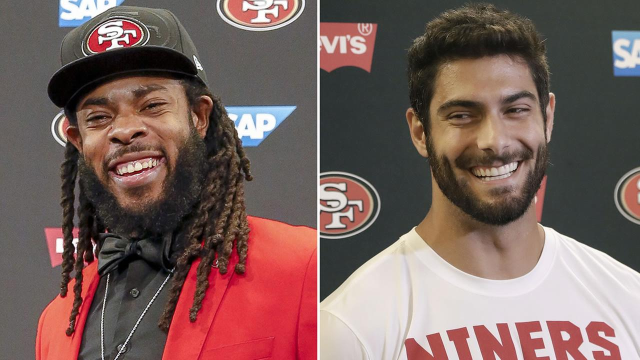 From left to right: San Francisco 49ers quarterback Jimmy Garoppolo speaks to reporters and the teams new cornerback Richard Sherman poses for a photo after answering questions.