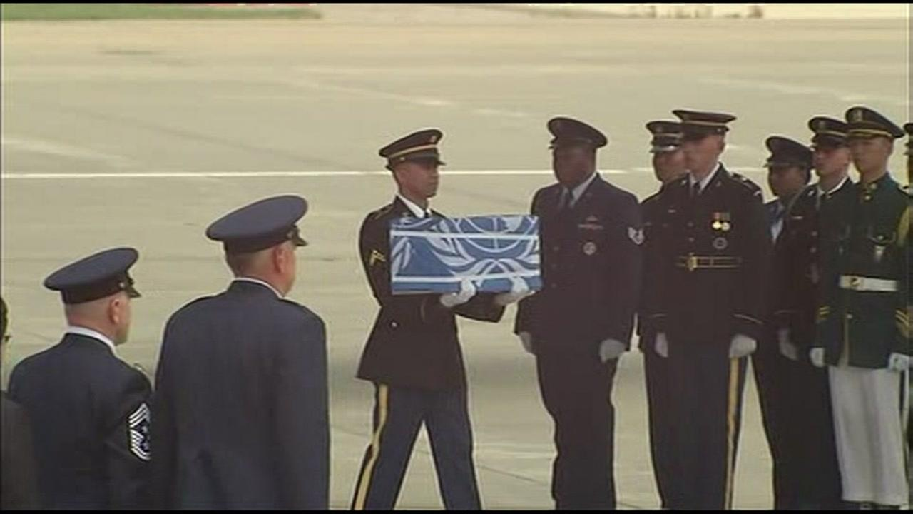 What are believed to be the remains of U.S. service members who died in the Korean War were flown to a U.S. base in South Korea on July 26, 2018.
