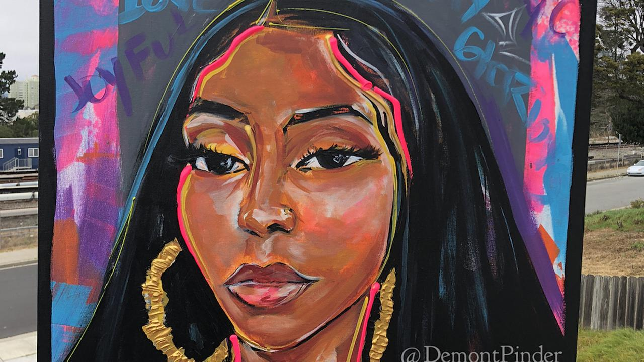 A portrait of Oakland murder victim Nia Wilson by Washington, D.C. artist Demont Pinder.