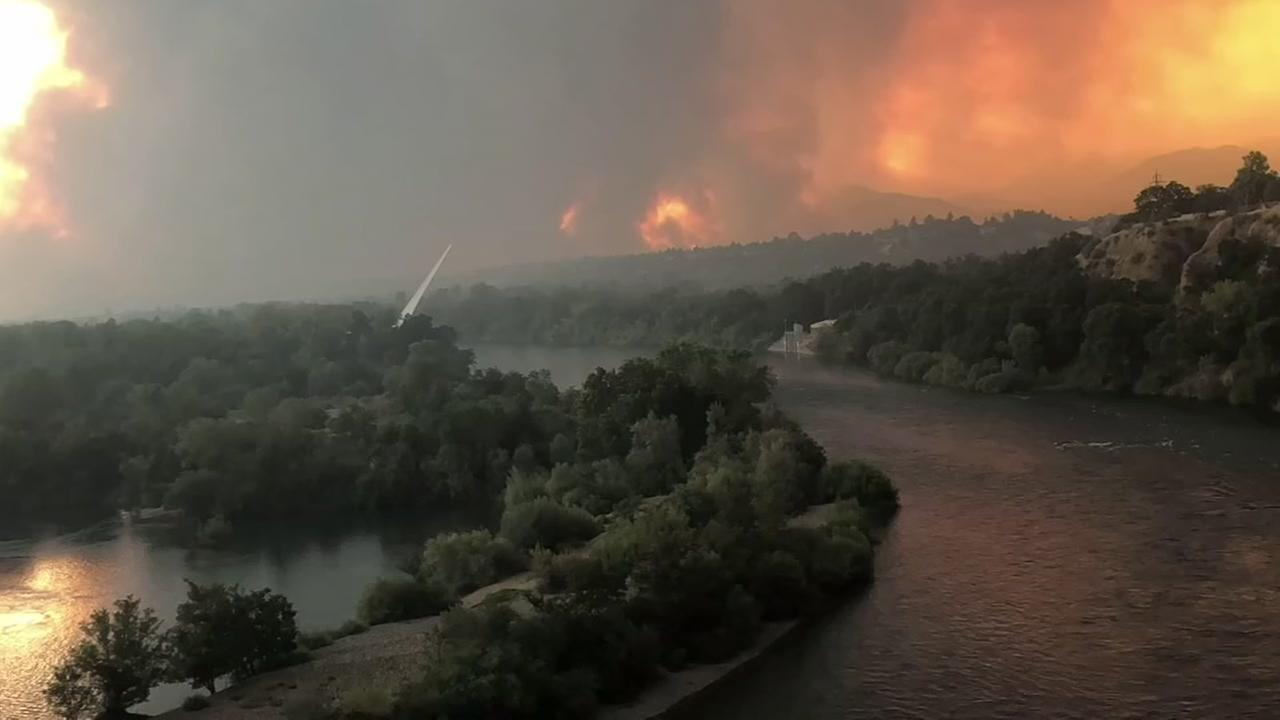 This still image from a timelapse video shows the progress of the devastating Carr Fire burning through Shasta County.