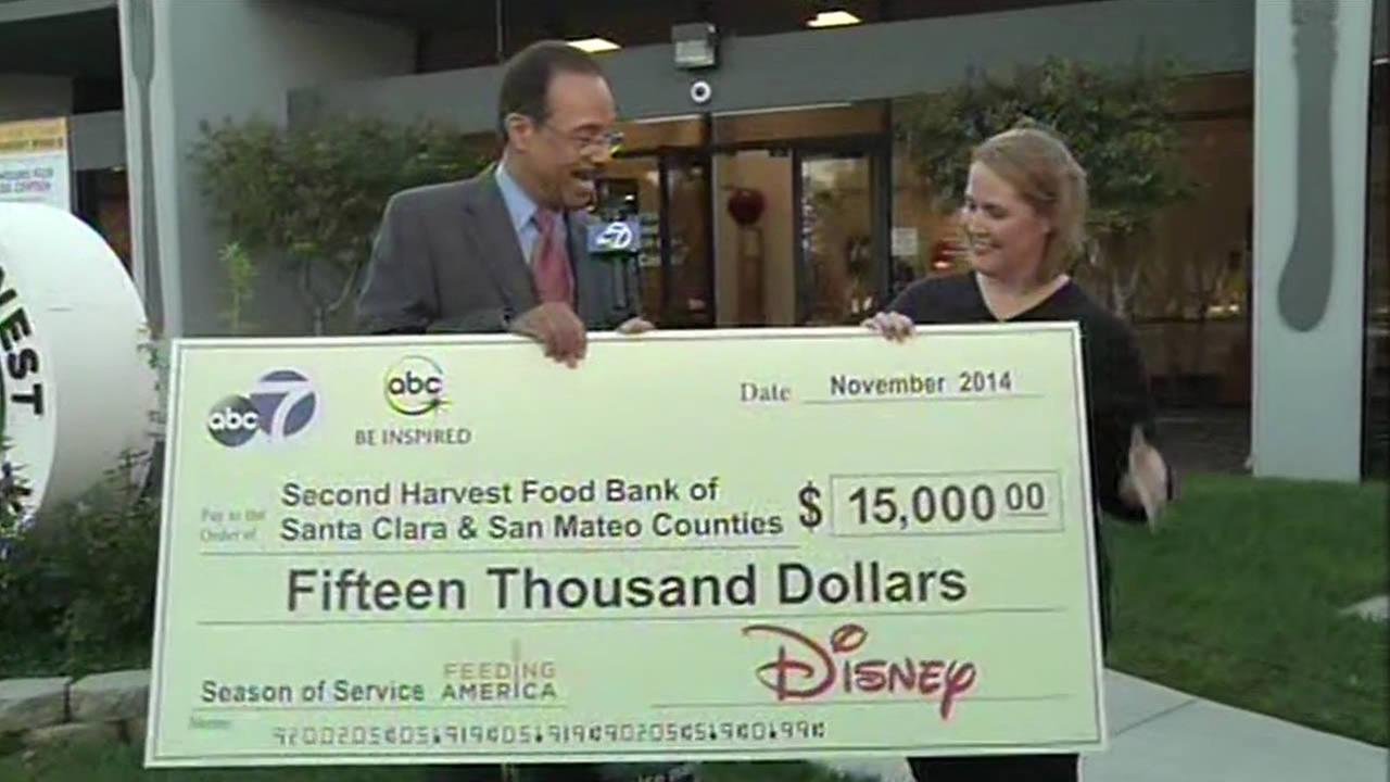ABC7, Disney donates $15K to Second Harvest Food Bank.