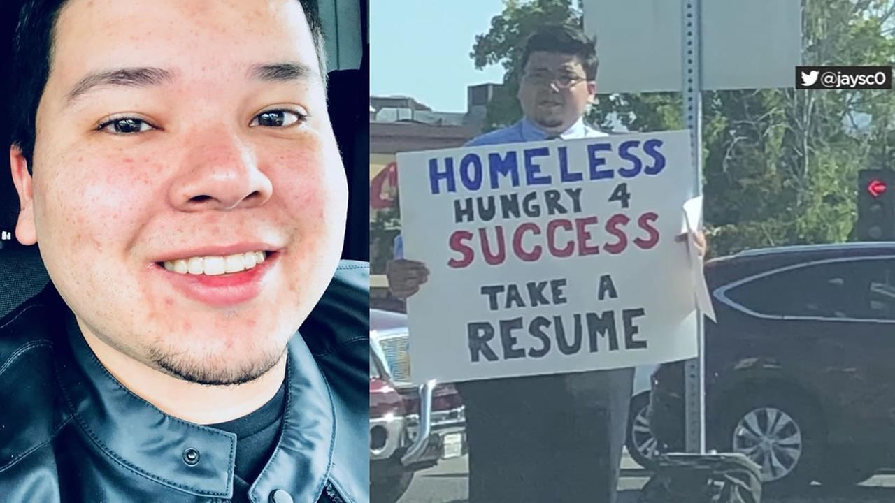 David Casarez, 26, appears in this split image. The image on the right went viral, showing his determination to get himself out of homelessness.