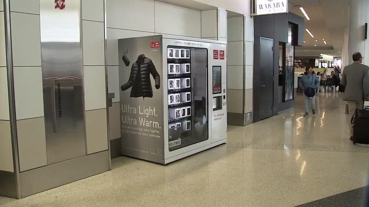 A vending machine that sells clothing is pictured at SFO in this photo taken Monday, July 30, 2018.