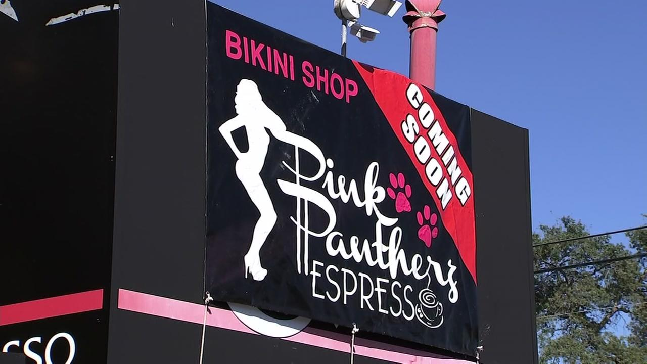 A sign advertising the Pink Pantherz coffee shop proposed in Redwood City, Calif. on Monday, July 30, 2018.