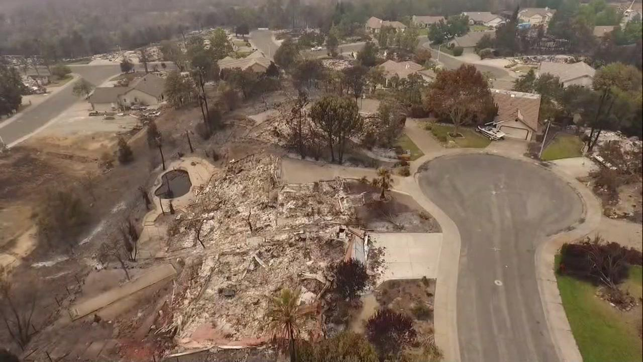 DRONEVIEW7 flew over the River Ridge neighborhood in Redding, Calif. on Tuesday, July 31, 2018, after it was destroyed by the Carr Fire.