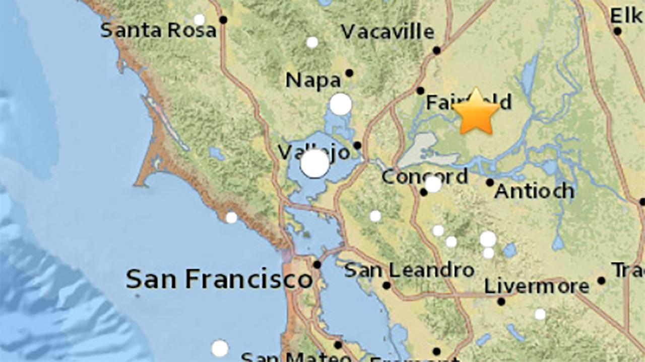 Earthquake near Fairfield, California on August 2, 2018.