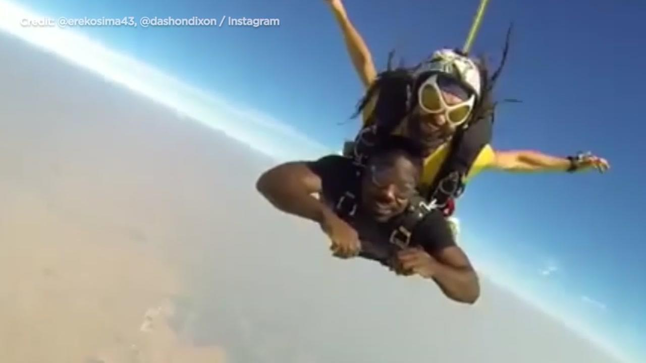 Lawrence Erekosima posted video to his Instagram page showing him leaping from an airplane.