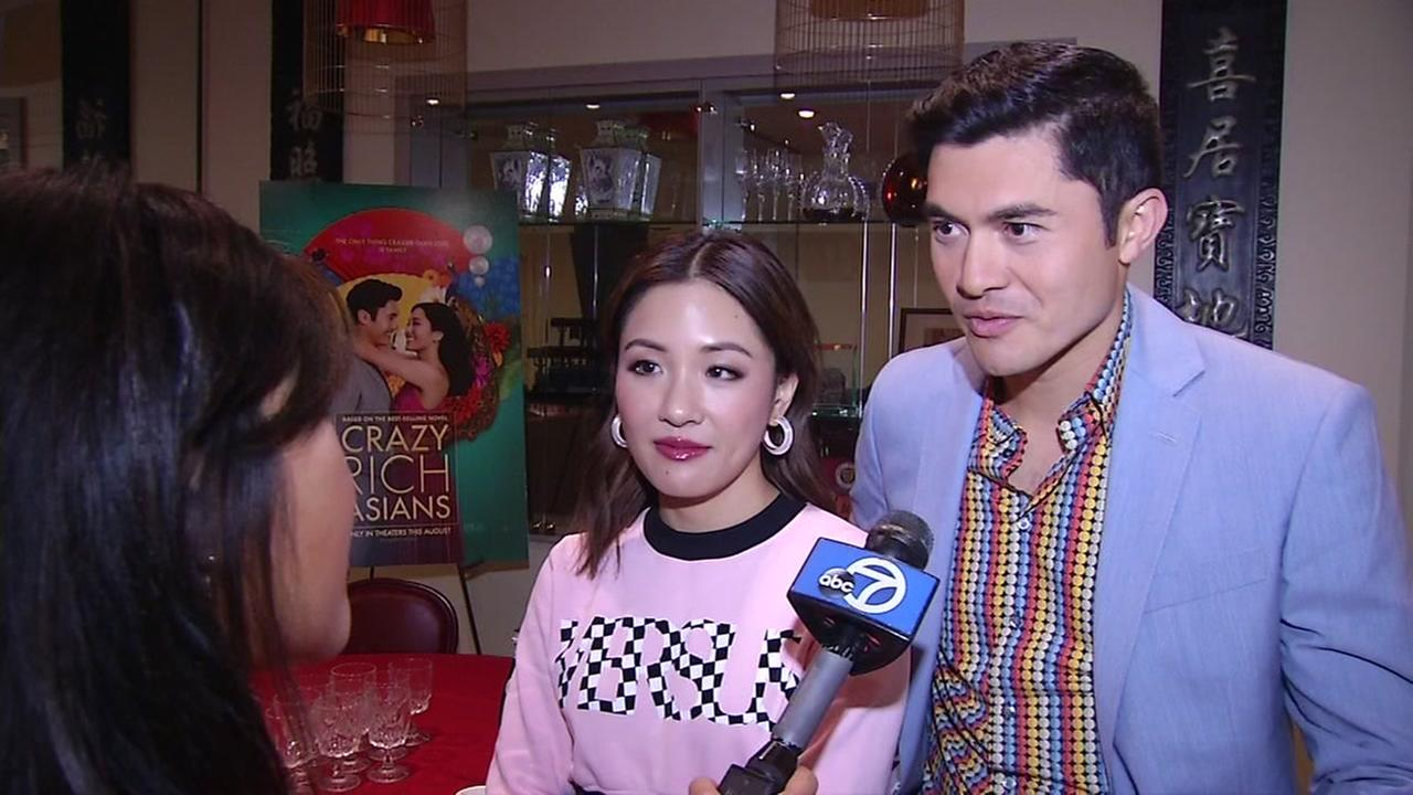 Crazy Rich Asians actors Constance Wu and Henry Golding are interviewed by ABC7 News on Thursday, Aug. 2, 2018 in Los Altos, Calif.