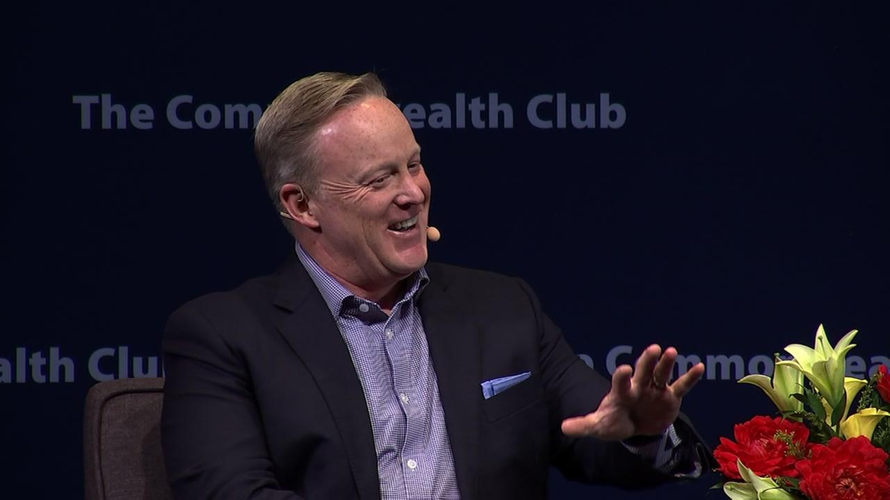 Sean Spicer speaks at the Commonwealth Club in San Francisco on Thursday, Aug. 2, 2018.