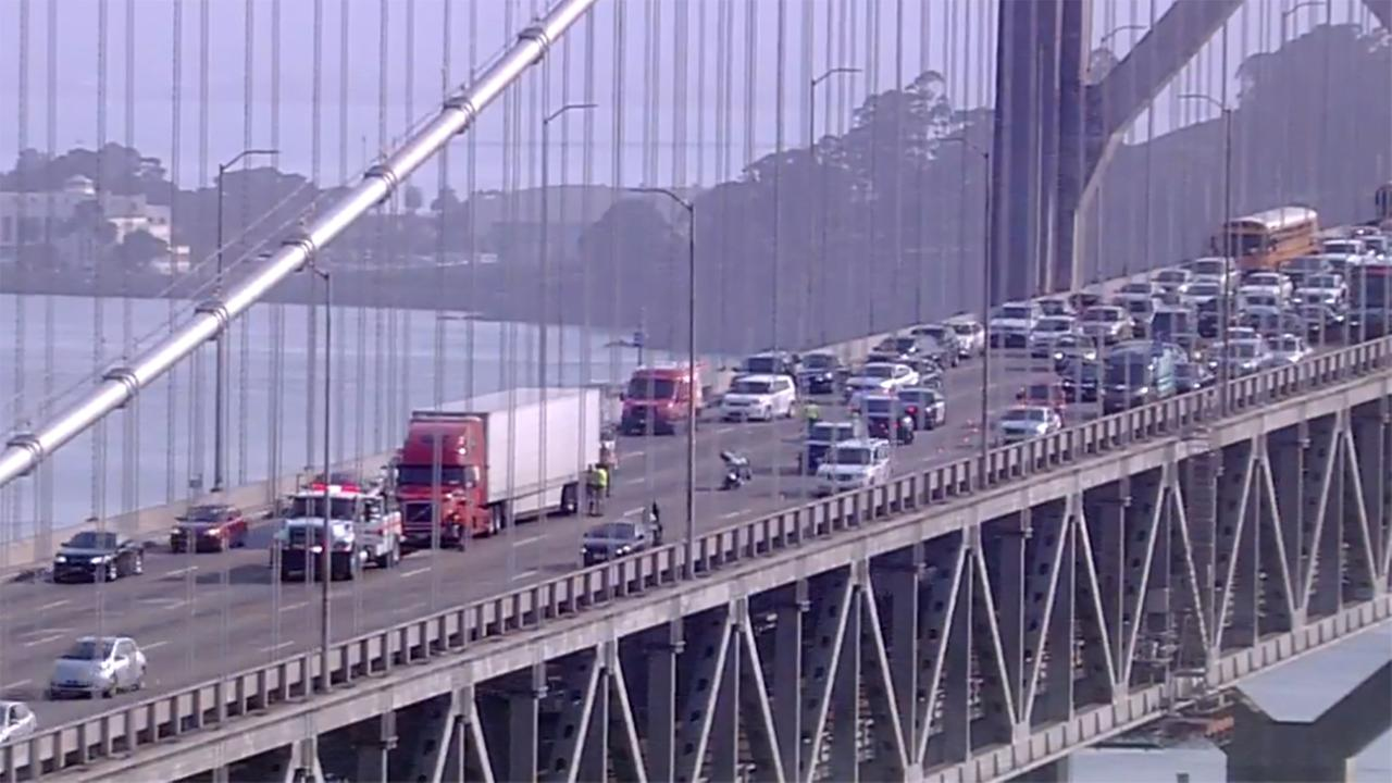 Accident on the Bay Bridge on Friday, August 3, 2018.