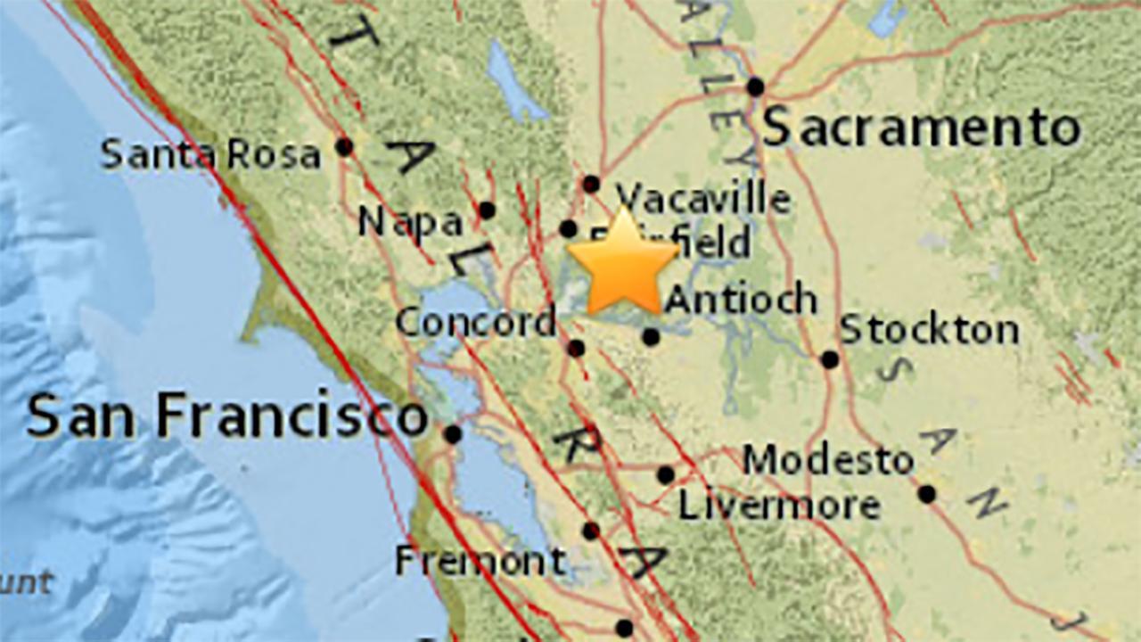 Earthquake near Fairfield, California on Sunday, August 5, 2018.