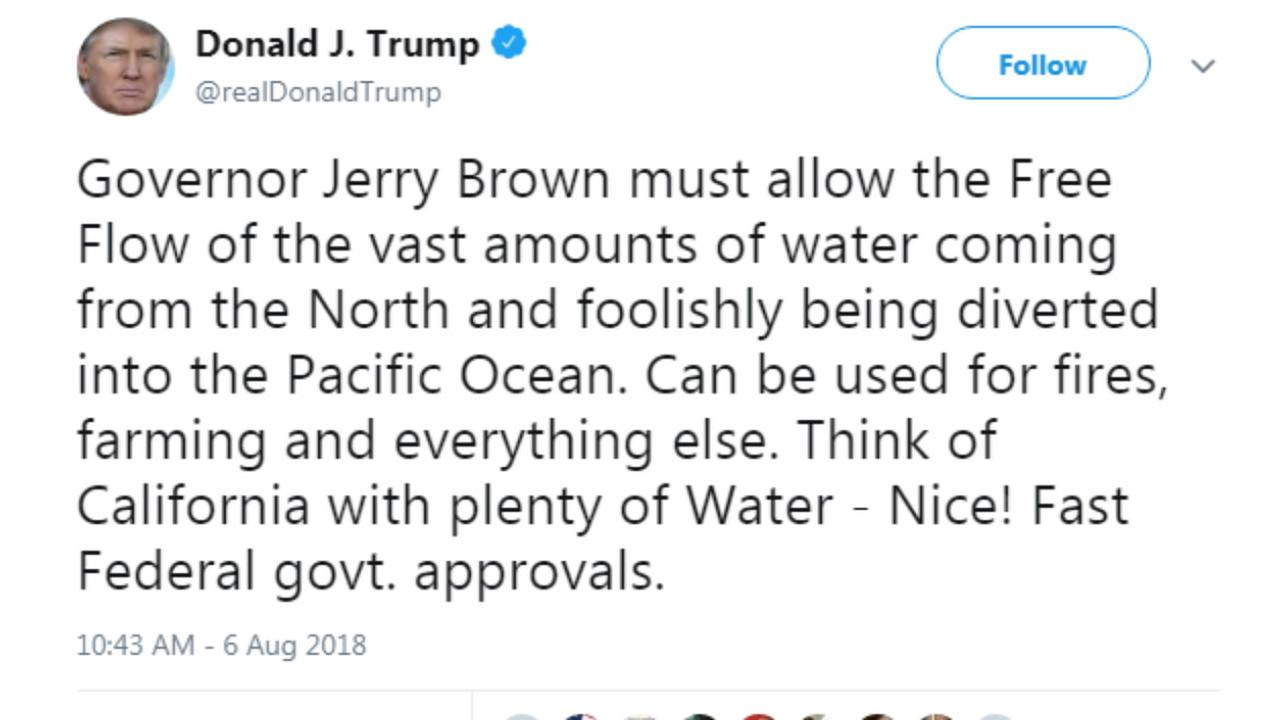 President Trump criticizes Governor Brown over use of California water during massive wildfires