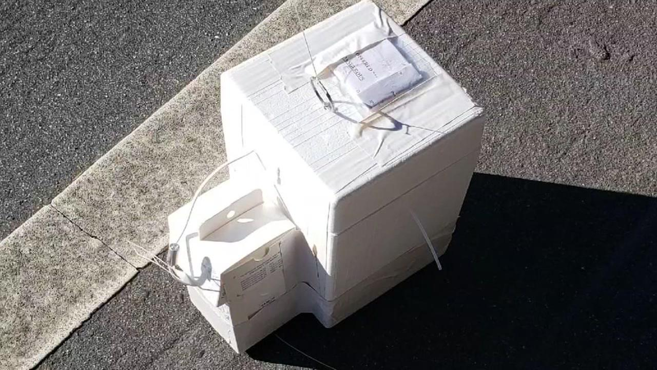 A weather balloon housed in a Styrofoam box from San Jose State University is pictured on Wednesday, August 8, 2018.