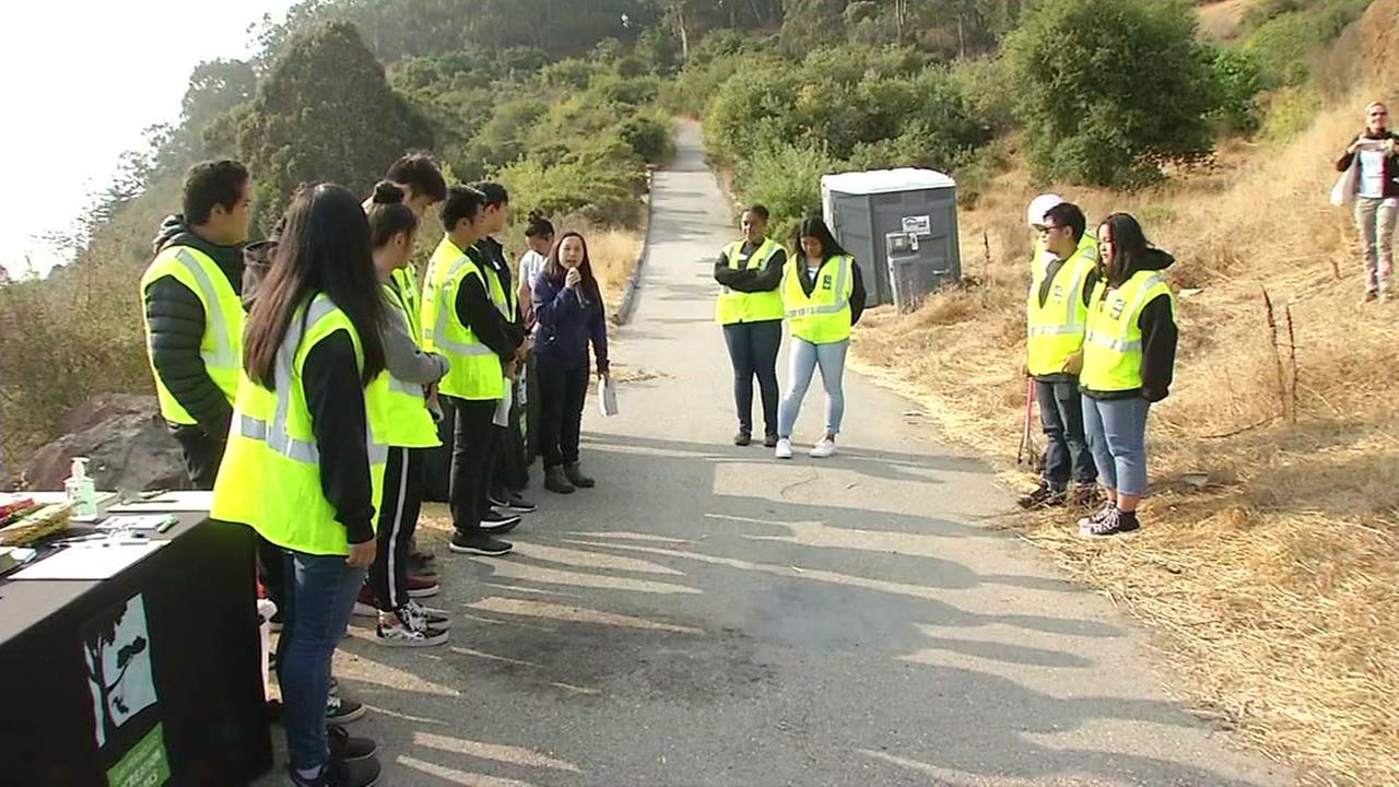 Greenagers program helps clean park in San Francisco on Thursday, August 9, 2018.
