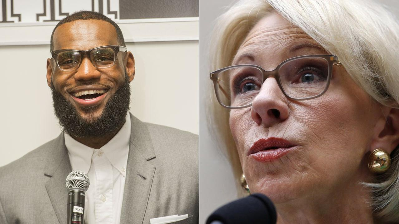 FILE -- Lebron James (left) and Education Secretary Betsy Devos (right)