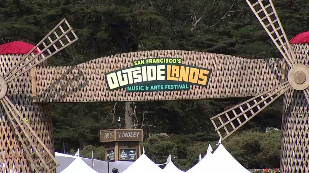 A sign for Outside Lands, a three-day music festival in Golden Gate Park, on Aug. 9, 2018, in San Francisco.