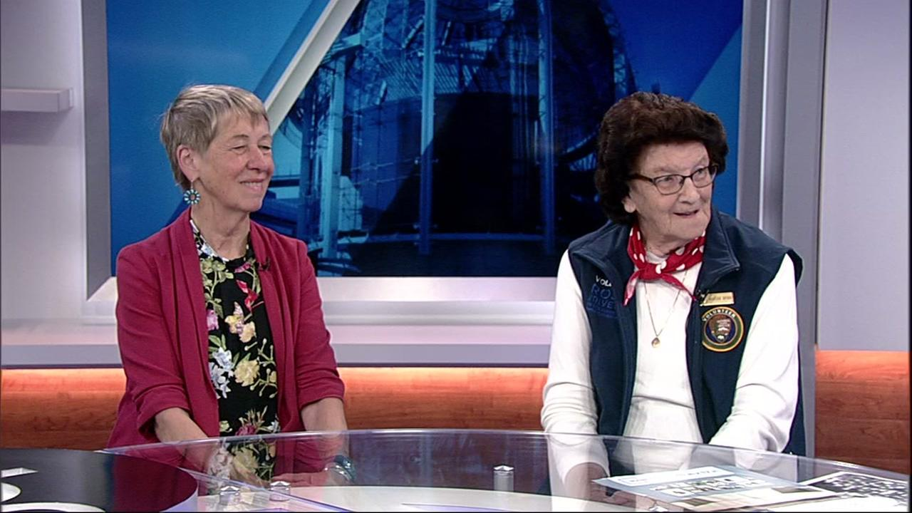 Marian Wynn, right, is a real-life Rosie the Riveter, and is pictured with Marsha Mather-Thrift of the Rosie the Riveter Trust, at ABC7s studio in San Francisco on Aug. 9, 2018.