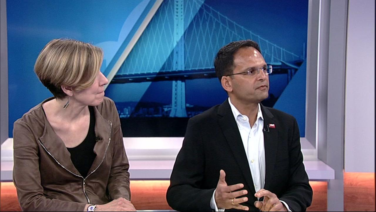 Joanne Carter, executive director of Results, left, joined Pankaj Agarwal to talk about poverty in the ABC7 News studio in San Francisco on Aug. 10, 2018.