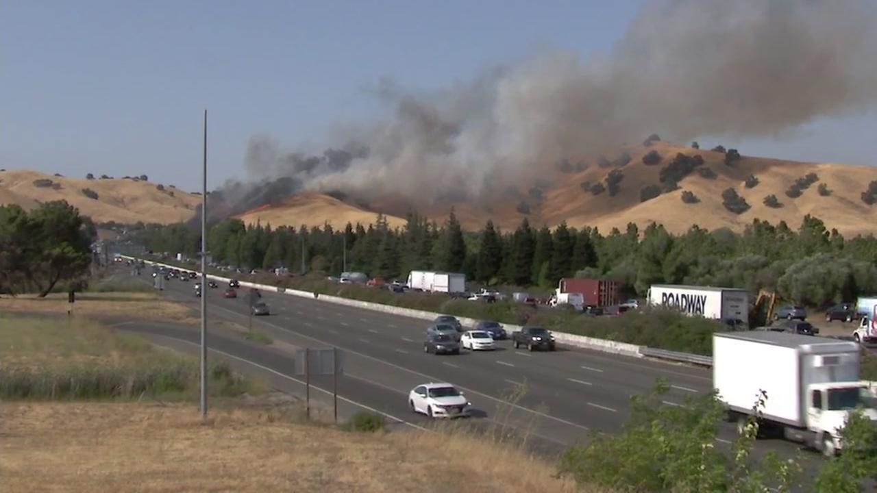 A fire broke out in Solano County, Calif., near Fairfield on Aug. 10, 2018.