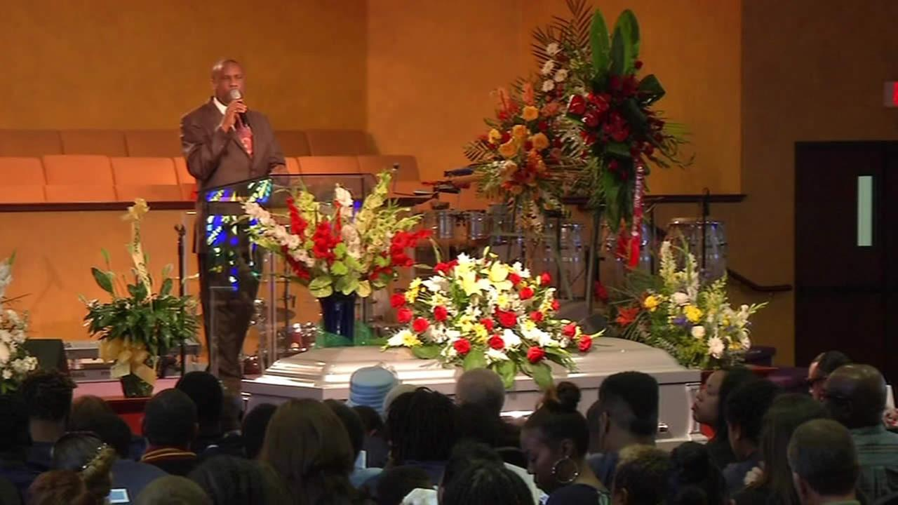 Funeral for Bay Area football star Darryl Blackmon, who was killed during a collision with a controversial guardrail.