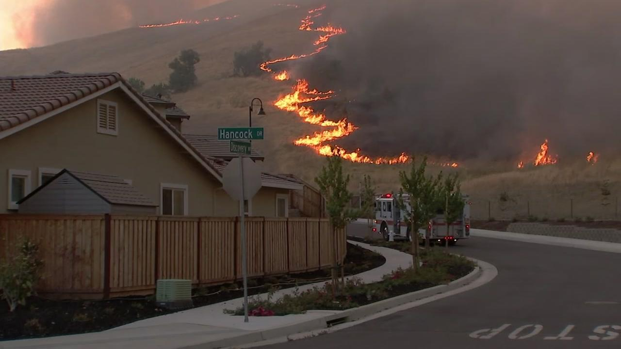 Flames are seen behind homes in Fairfield, Calif. on Friday, August 10, 2018.