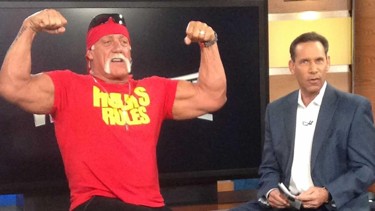Hulk Hogan stopped ABC7 to talk to Larry Beil about WrestleMania coming to Santa Claras Levis Stadium.