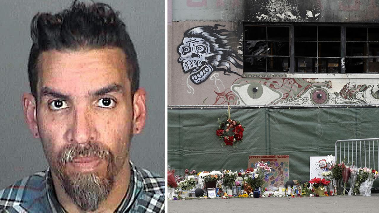 On the left, Derick Almena is seen in a March 12, 2015 booking photo. On the right, flowers are shown at the scene of a warehouse fire in Oakland, Calif. on Dec. 13, 2016.