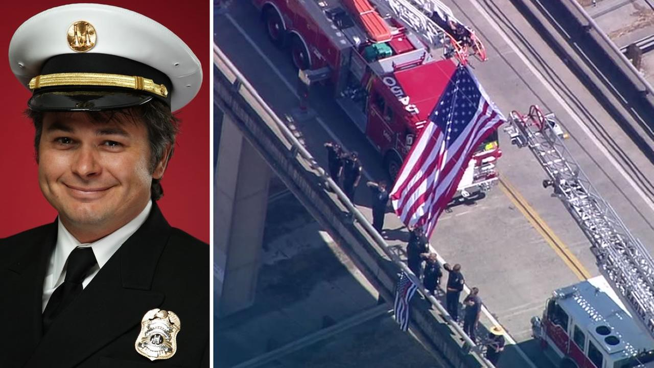 A procession to Santa Rosa, Calif. for fallen firefighter Matthew Burchett was held on Wednesday, Aug. 15, 2018.