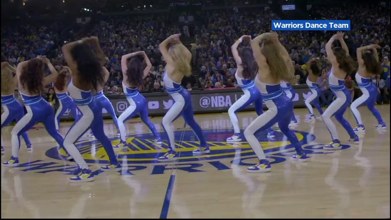 The Warriors Dance Team performs on the court at Oracle Arena in Oakland, Calif.