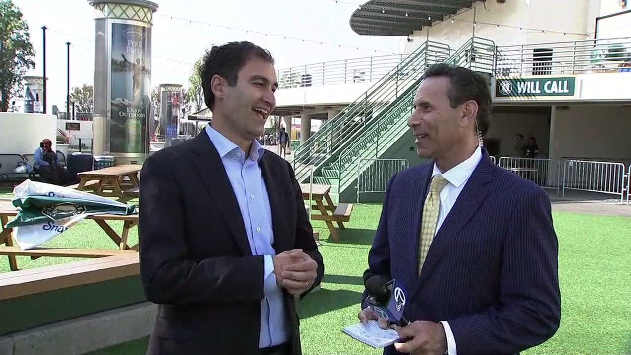 President Dave Kaval speaks to ABC7 Sports Director Larry Beil at Oakland Coliseum on Wednesday, August 15, 2018.