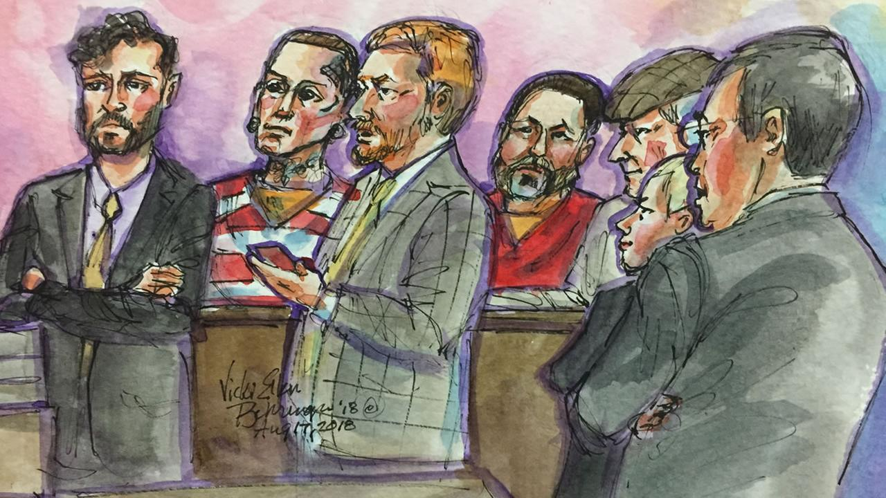 This sketch shows Ghost Ship Fire defendants Max Harris and Derrick Almena in court in Oakland, Calif. on Friday, Aug. 17, 2018.