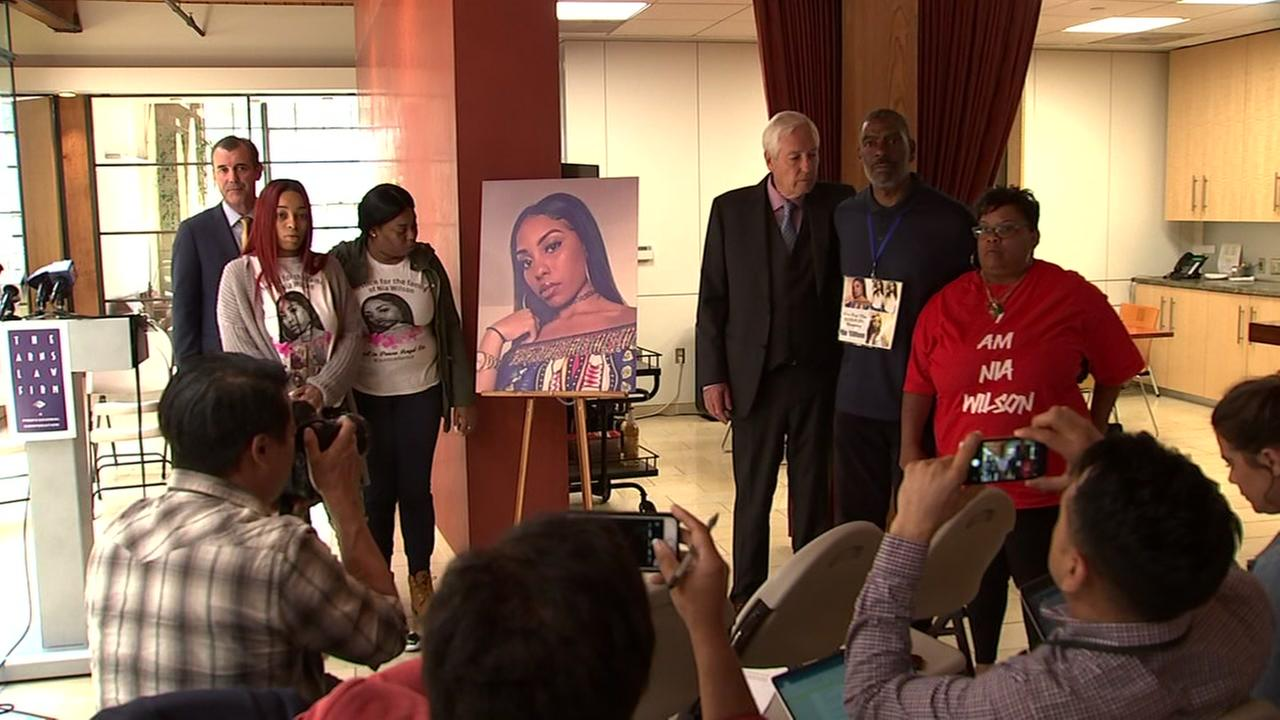 The family of Nia Wilson appears during a press conference in Oakland, Calif. on Friday, Aug. 17, 2018.