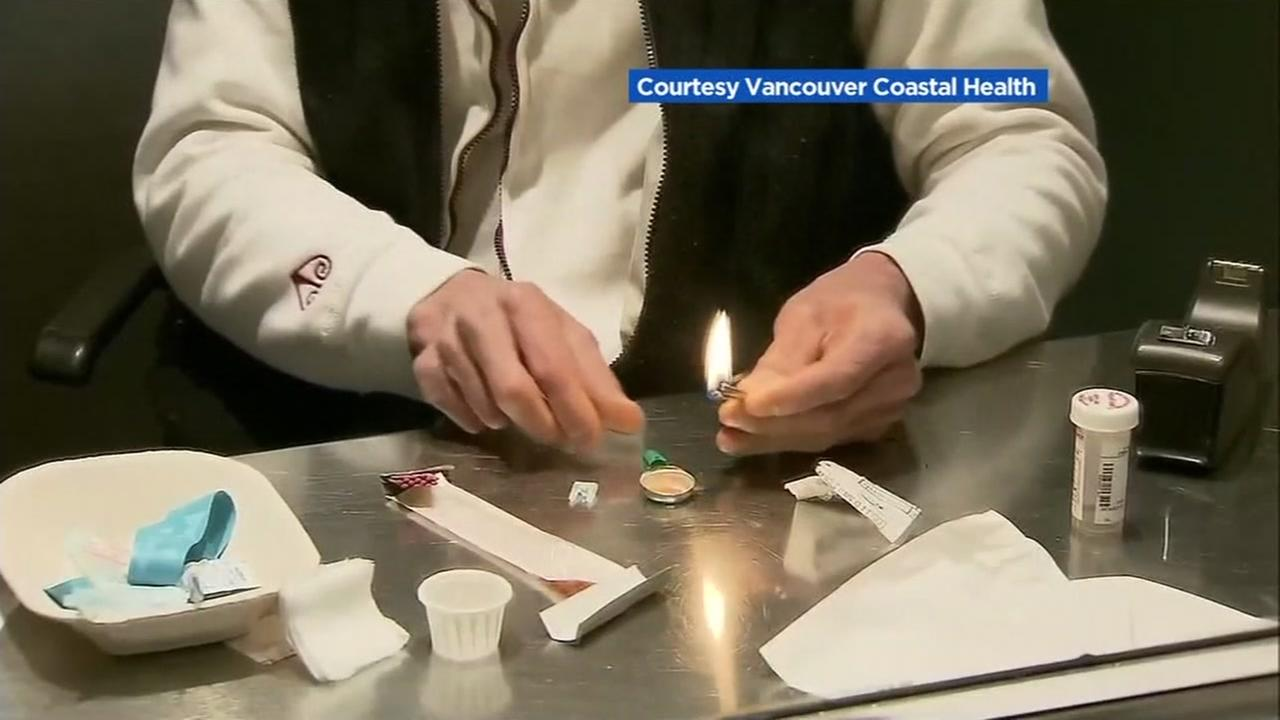 A safe injection site is pictured in Vancouver.