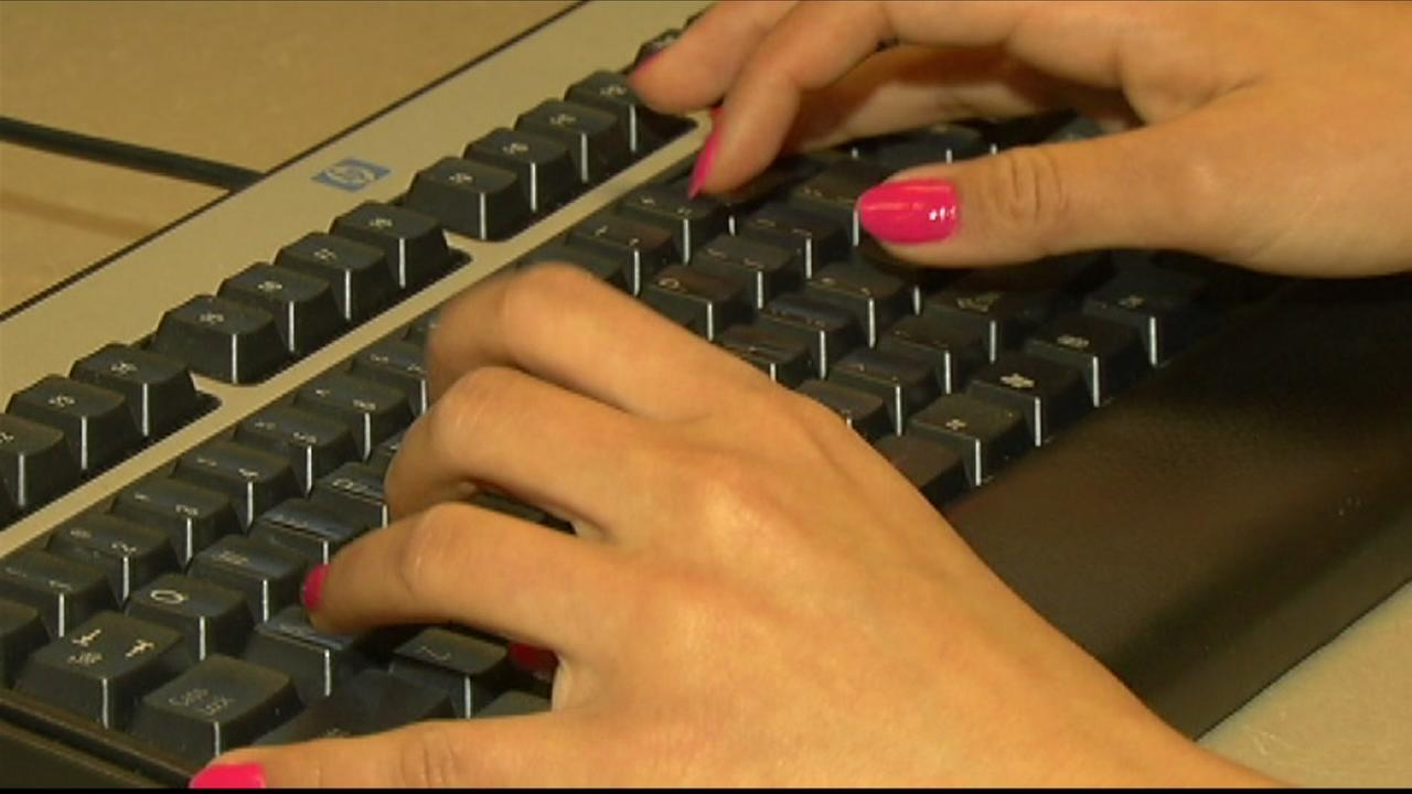 A person types on a keyboard in this undated file photo.