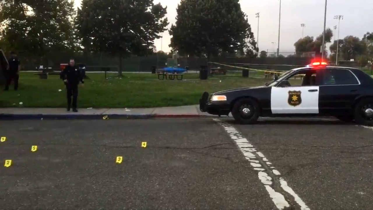 Police are seen after a shooting in a park in Berkeley, Calif. on Saturday, August 18, 2018.