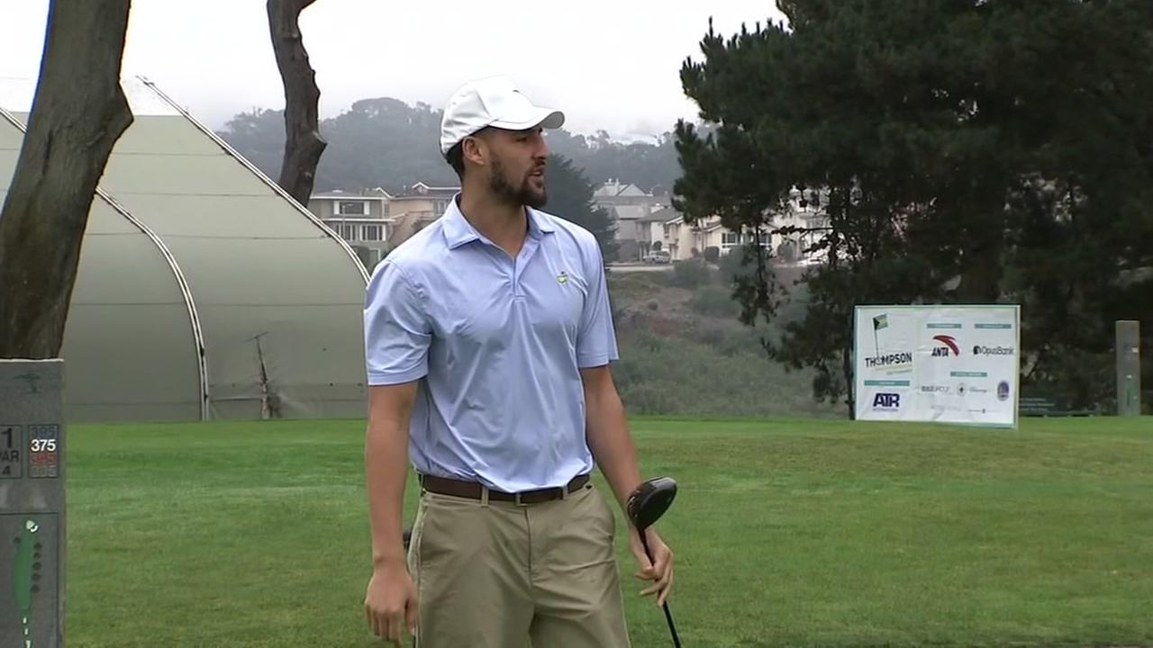 Klay Thompson is seen during the inaugural Thompson Family Foundation Golf Tournament in Harding Park in San Francisco on Sunday, August 19, 2018.