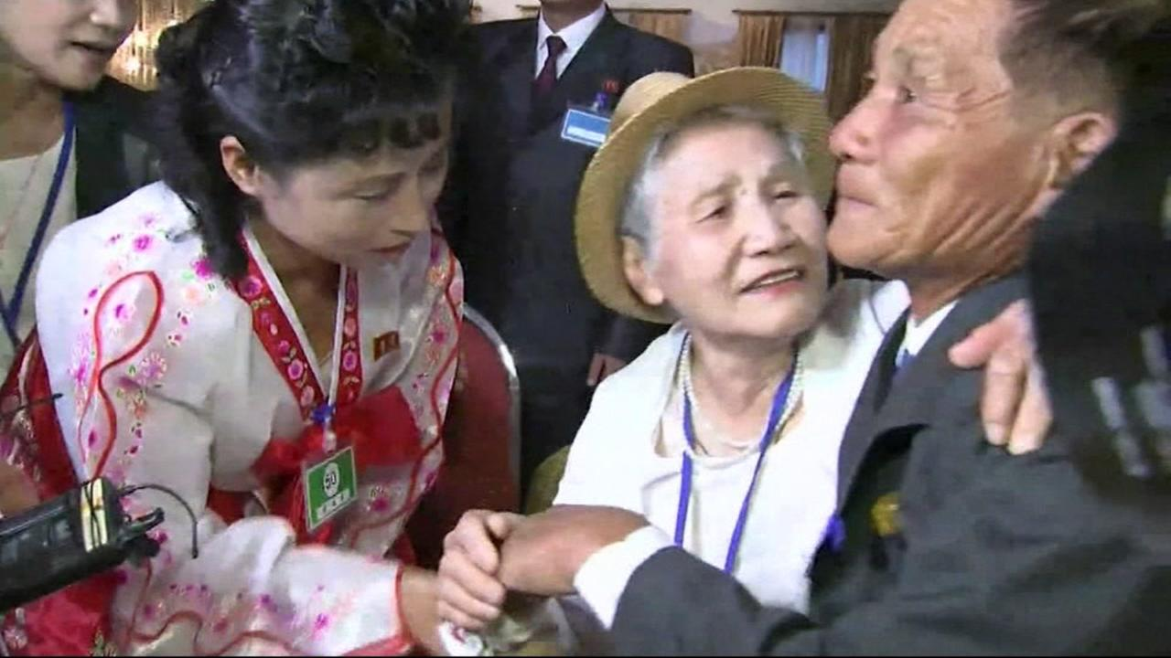South Korean Lee Keum-seom, 92, meets with her North Korean son Sang Chol, 71, during a reunion at the Mount Kumgang resort on North Koreas southeastern coast on August 20, 2018.
