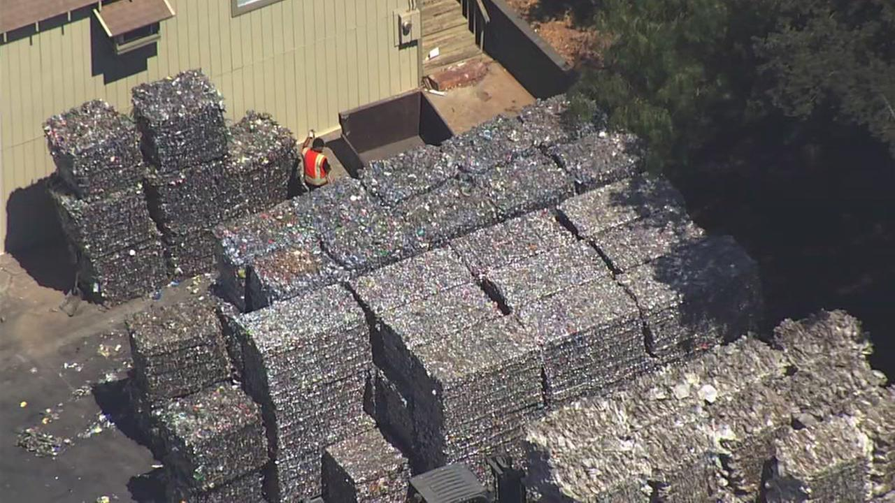 A mountain of recyclables appears in Marin, Calif. at a recycling center on Aug. 20, 2018.