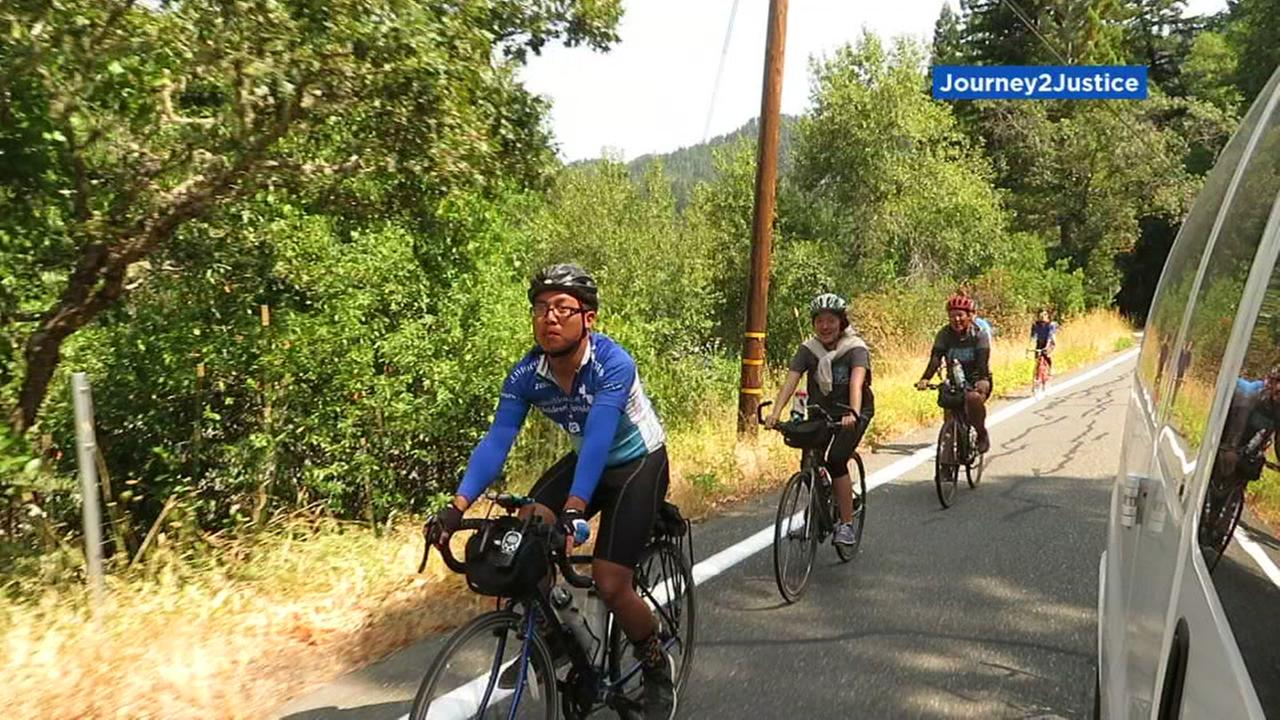 Dreamers ride bikes down the Calif. coast in protest in this undated image.