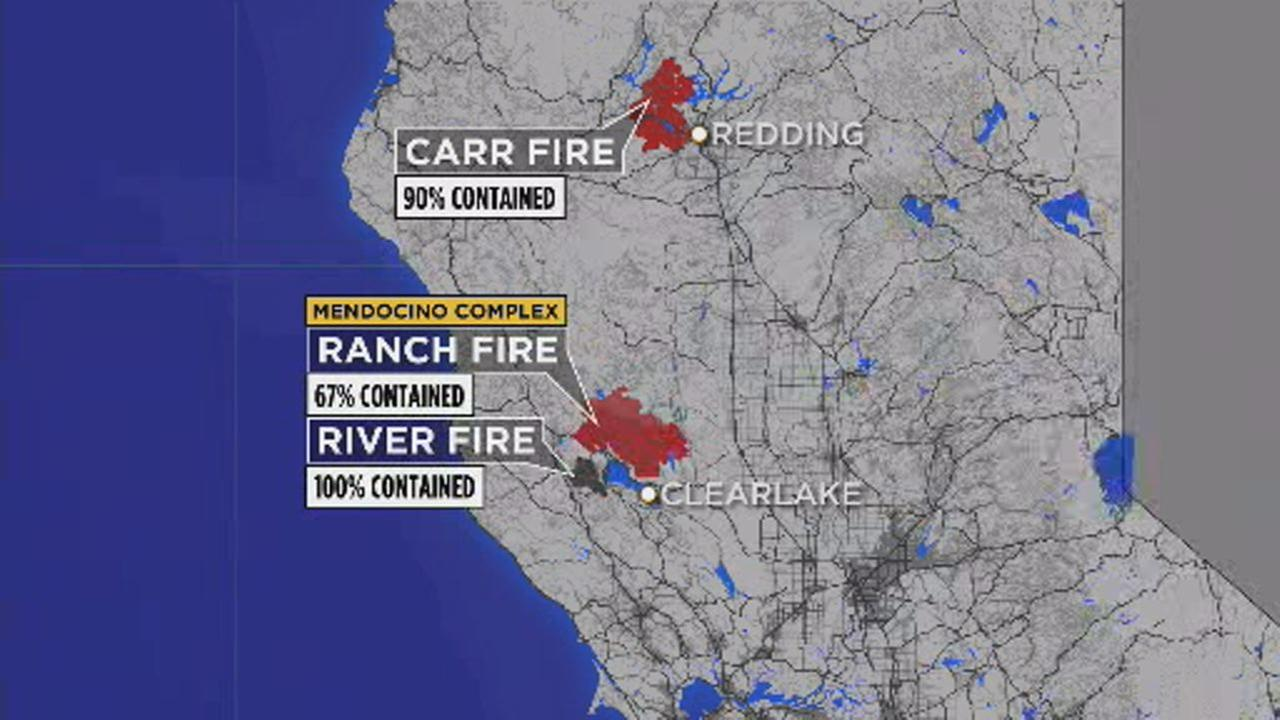 This image shows a containment map of the Carr Fire and the Mendocino Complex fires in Northern California on August 21, 2018.