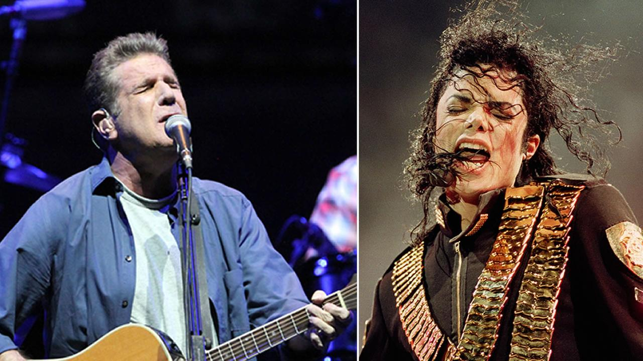 Glenn Frey from The Eagles is pictured, left, and Michael Jackson is pictured, right.
