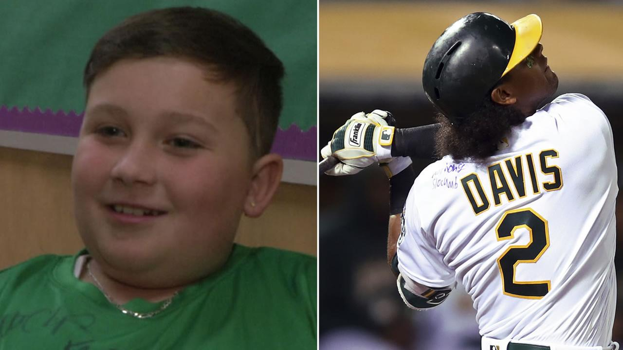 Anthony Slocumb, left, is pictured next to Athletics slugger Khris Davis, right.