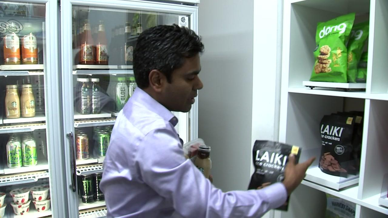 Zippins CEO demonstrates how to get lunch in 16 seconds at the companys cashierless store on Wednesday, Aug. 22, 2018.