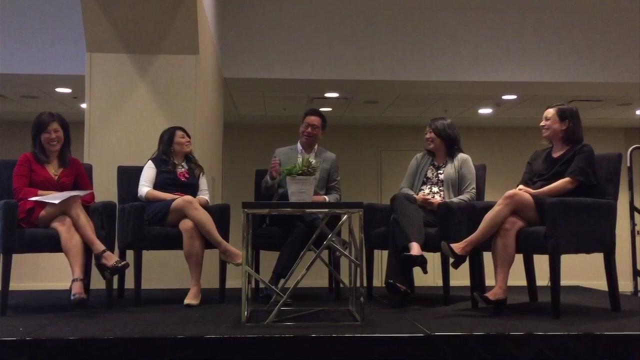 ABC7 News Anchor Kristen Sze is seen during a panel discussion at the Ascend National Convention in San Francisco on Wednesday, August 22, 2018.