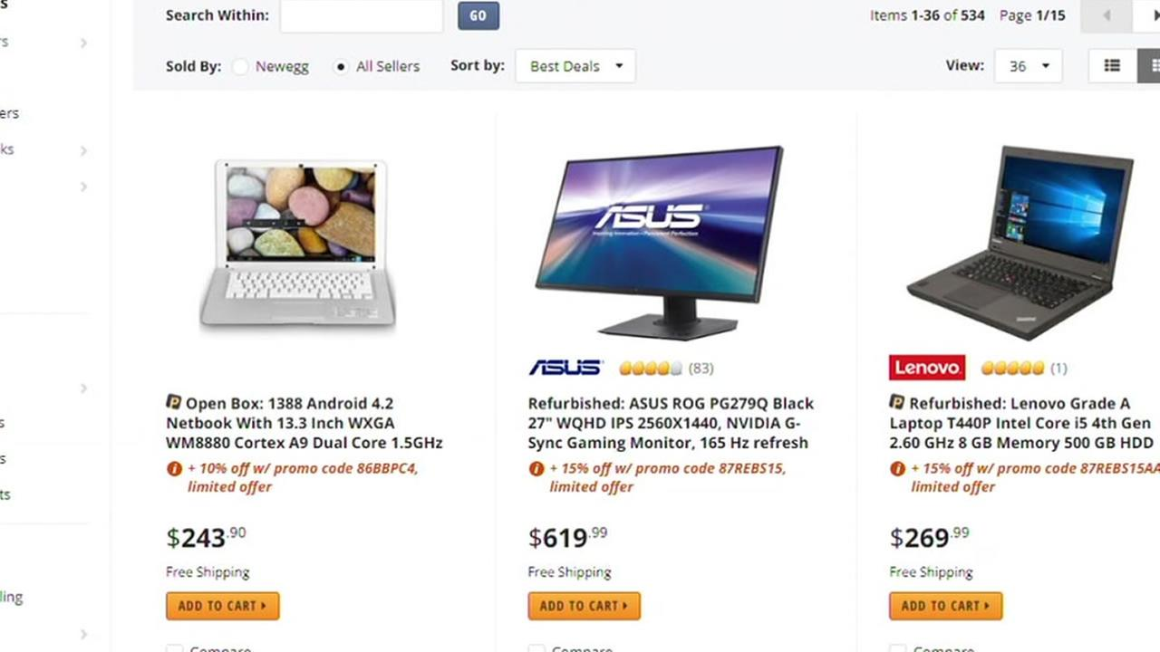 A website offers deals on computers.