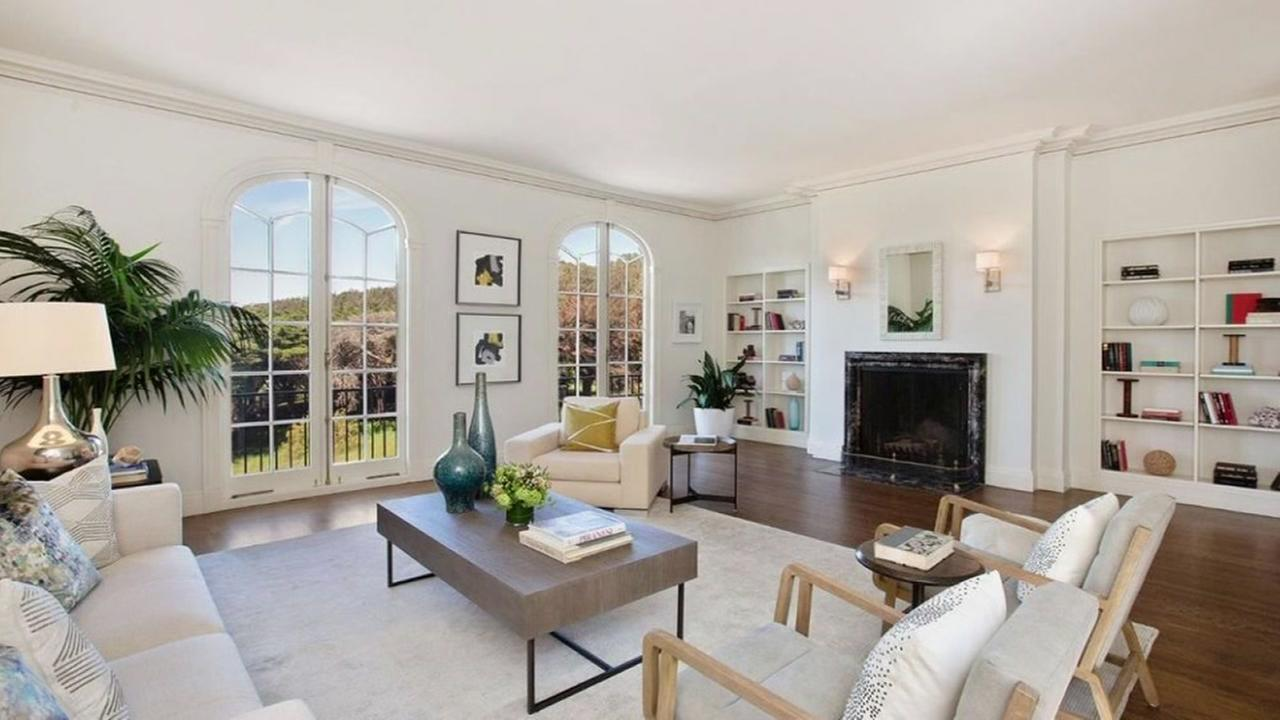 This is an undated image of the living room in Warriors Coach Steve Kerrs new home in San Francisco.