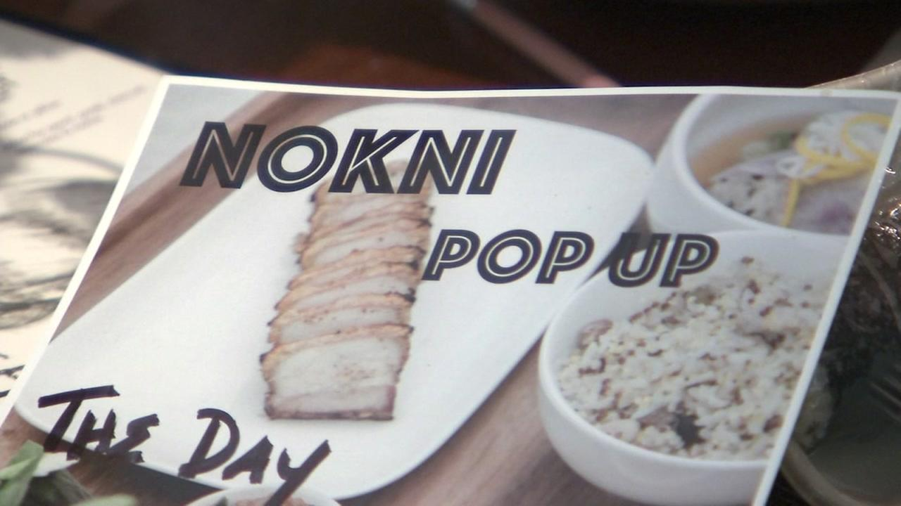 A flyer for the Nokni pop-up restaurant in Oakland, Calif. appears on Thursday, Aug. 23, 2018.
