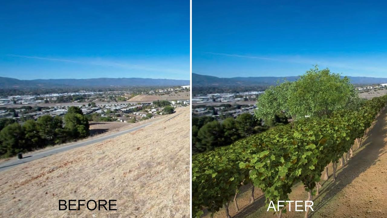 A before and after rendering shows the proposed changes to San Jose, Calif.s Communications Hill.