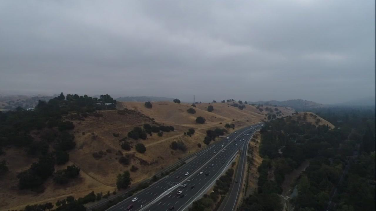DRONEVIEW7 shows smoke over the East Bay Hills on Friday, August 24, 2018.